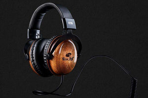 """Classics"" Wood Headphones with attached cord + Free Earbuds - Urban Vinyl Records"