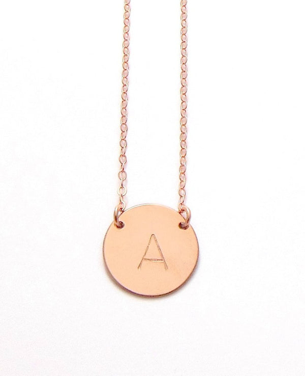 The Chloe - Large Initial Necklace - Rose Gold Misuzi