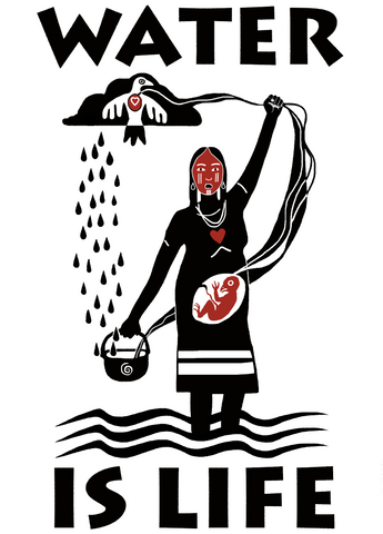 Water Is Life: Pregnant Woman_Art by Christi Belcourt