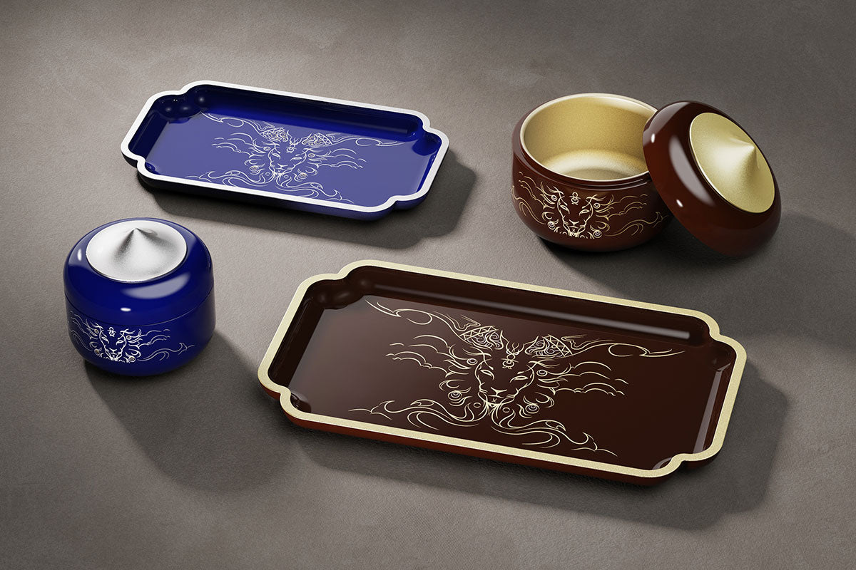 Utama Lacquer Trays and Boxes in Kopi Brown and Hornbill Blue
