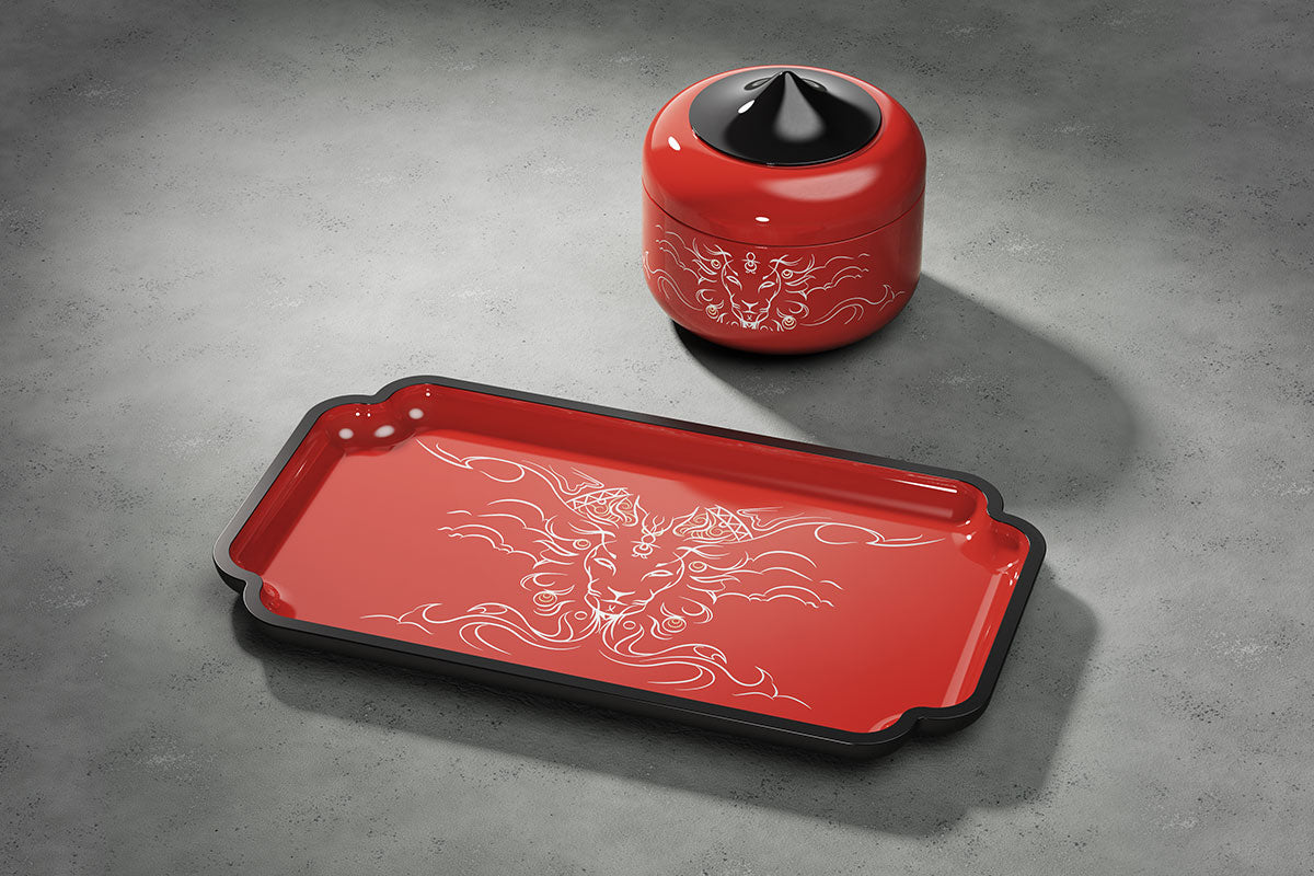 Utama Lacquer Trays and Boxes in Merdeka Red