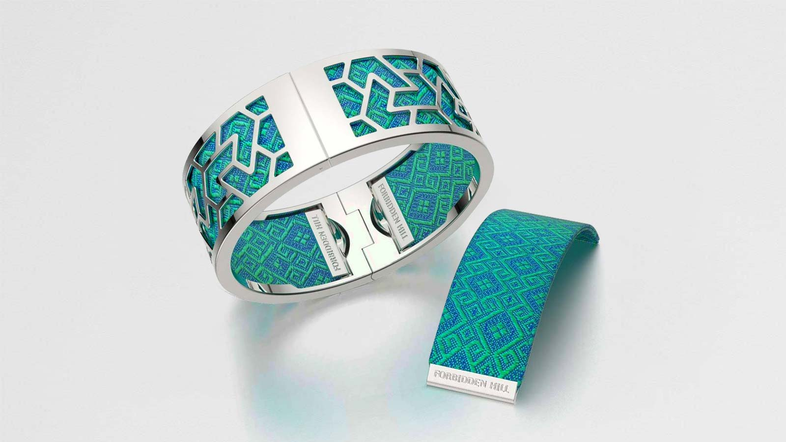 Iskandar Bangle with Andaman Green Silk Slides
