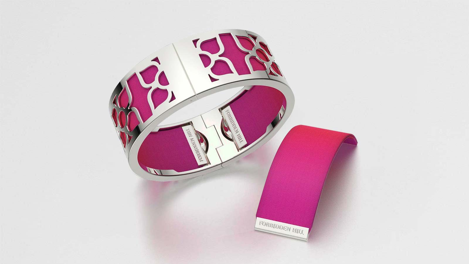 Lotus Bangle with Dragonfruit Pink Silk Slides
