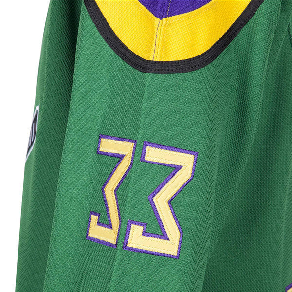 Goldberg #33 Green The Mighty Ducks Movie Ice Hockey Jersey Hip Hop Adults Clothing for Party Stitched