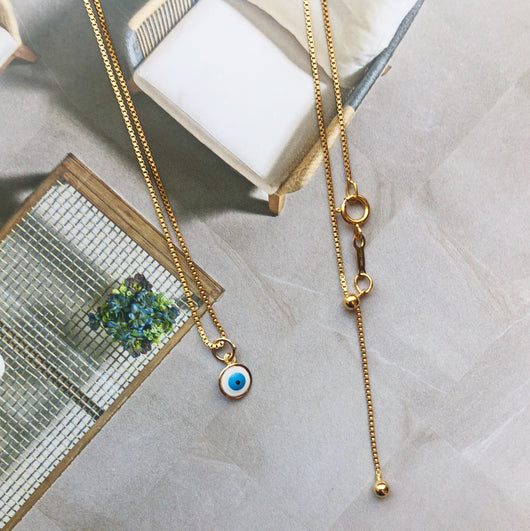 Small Evil Eye Necklace || Solid 14k Gold