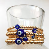 Evil Eye 14K Gold Bead Bracelets