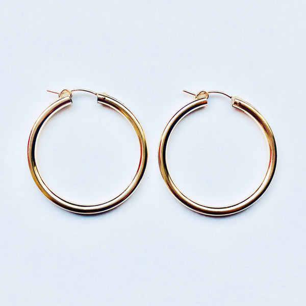 Lev | Thick Hoops | 14K Gold