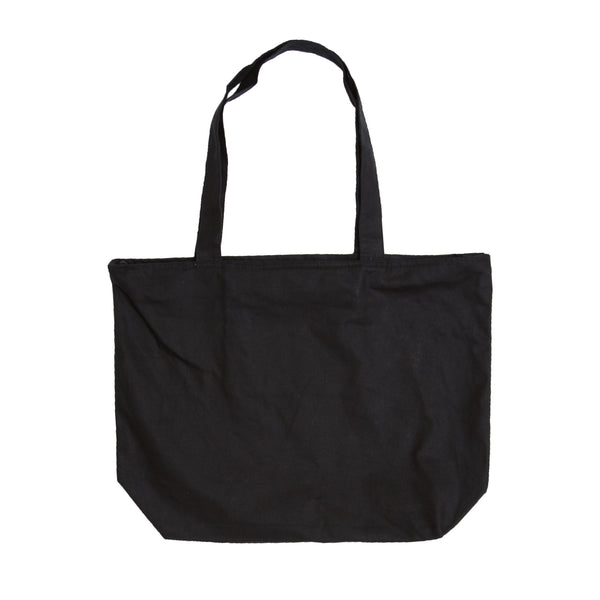 Large Canvas Carryall Bag-Black with White Logo