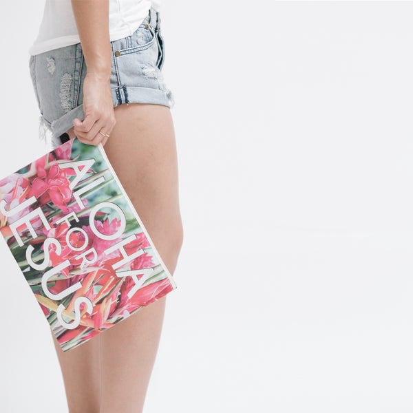 Large Hawaiian Flowers Logo Clutch Bag