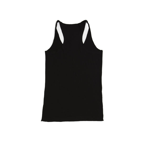 Logo Tank Top-Solid Black Triblend with White Logo