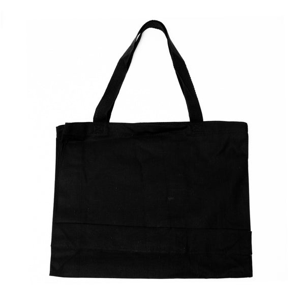Medium Canvas Bag-Black with White Logo