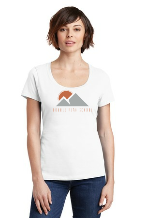 Ladies white scoop neck shirt