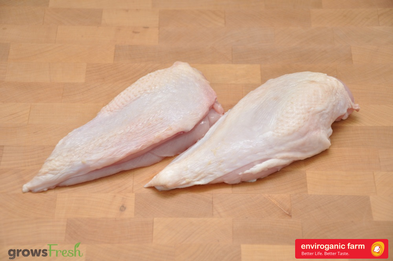 enviroganic farms - Organic Free Range Chicken - Frozen Skin On Breast Fillets - Australian