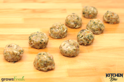 gF Kitchen Boss - Sicilian-Inspired Chicken Meatballs - Spinach, Carrot, Apple, Lemon, & Muscat Raisin - Frozen - Australian