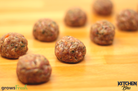gF Kitchen Boss - Sicilian-Inspired Beef Meatballs - Spinach, Carrot, Apple, Lemon, & Muscat Raisin - Frozen - Australian