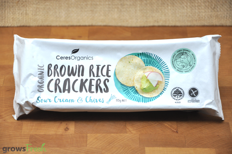 Brown Rice Crackers - Organic - Sour Cream and Chives - Thailand