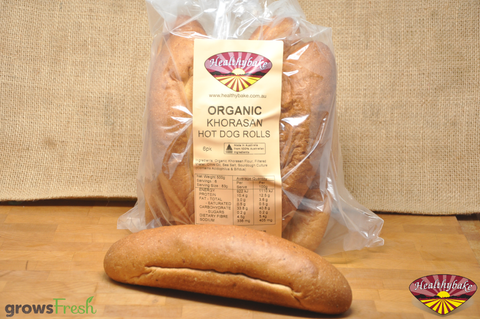 Healthybake - Organic Sourdough - Hot Dog Rolls - Khorasan - Australian