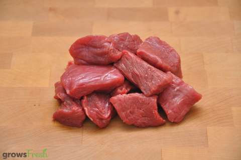 growsFresh - Beef - Fresh Tenderloin (Eye Fillet) Cubes - Grass Fed - Australian
