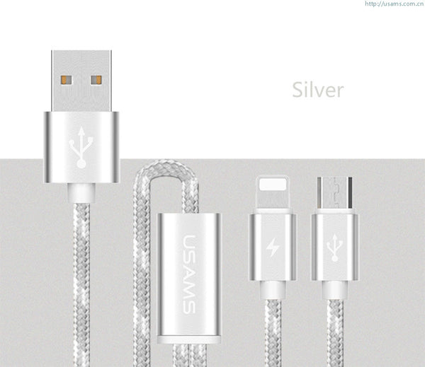 USAMS U-Knit Series Lightning & Micro USB 2in1 Braided Cable
