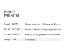US-SJ148 Lightning Magnetic cable U-Boss Series