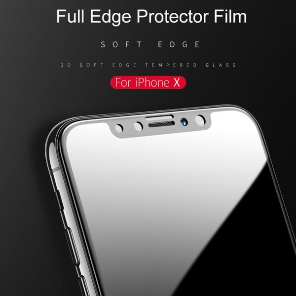 USAMS US-BH372 iPhoneX 3D 0.23mm Carbon Fiber Tempered Glass