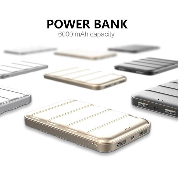 USAMS US-CD08 6000mAh Power Bank Trunk Series Dual USB Power Bank