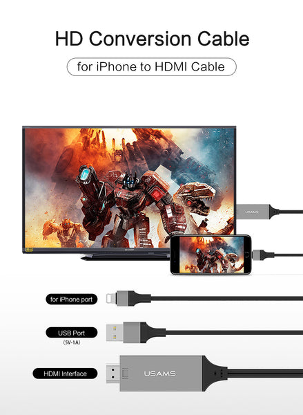 USAMS US-SJ131Lightning to HDMI Cable 2m