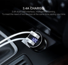 USAMS US-CC019 3.4A Digital Dual Ports Car Charger with LED Display