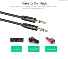 USAMS 3.5mm Black Aux Gold Plated Audio Cable