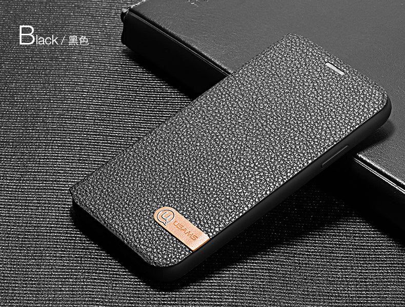 USAMS Duke Series Leather PU Book Type Case For iPhone X