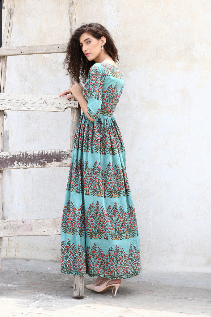 Block Printed Green Cape - The Ethnic Fix - Dubai - UAE