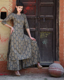 Grey Block Printed Kurta with Palazzos - The Ethnic Fix - Dubai - UAE