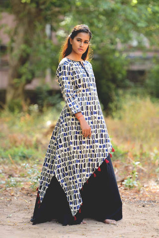 Contemporary Triangle Kurta Skirt Pair - The Ethnic Fix - Dubai - UAE