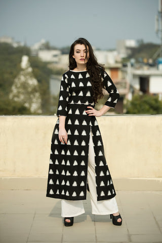 Set of Black Triangle Side Slit Cape with Palazzos - The Ethnic Fix - Dubai - UAE