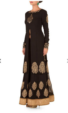 Black & Gold Banarasi Cutwork Sherwani Lehenga Set - The Ethnic Fix - Dubai - UAE