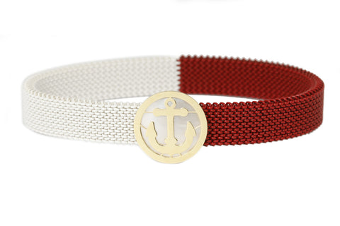 An 18 carat gold 'Anchor' centerpiece with a red & white stretchable, stainless steel band. - The Ethnic Fix - Dubai - UAE