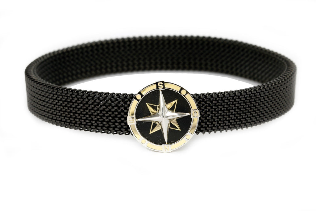 An 18 carat gold 'Compass' centerpiece with a black stretchable, stainless steel band. - The Ethnic Fix - Dubai - UAE
