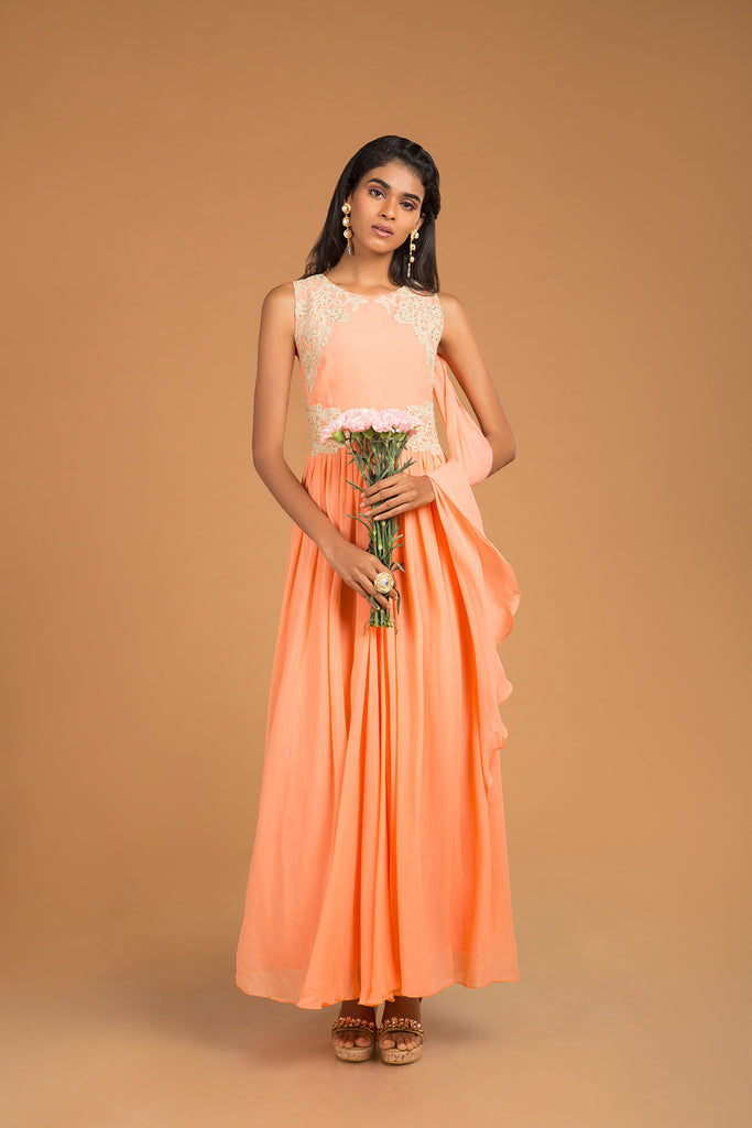 Peach crochet cascade gown kurta - The Ethnic Fix - Dubai - UAE