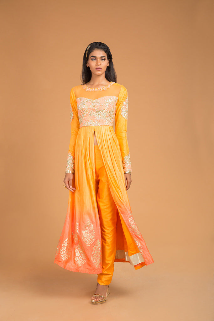 Saffron to salmon sequins embroidered kurta jacket set - The Ethnic Fix - Dubai - UAE