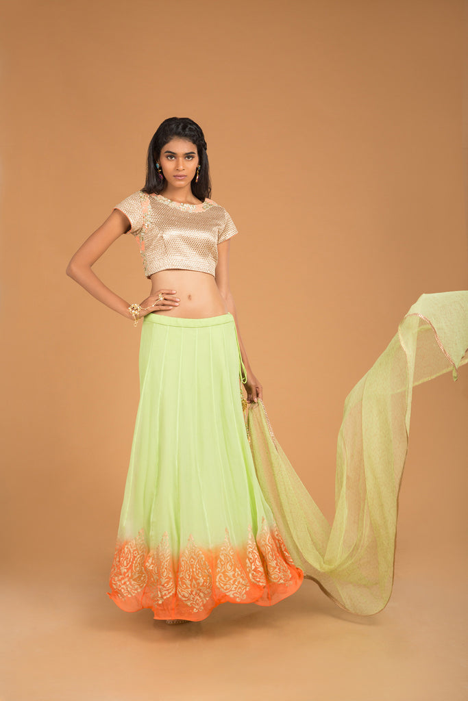 Gold, Green & Salmon Kasab Lehenga Set - The Ethnic Fix - Dubai - UAE