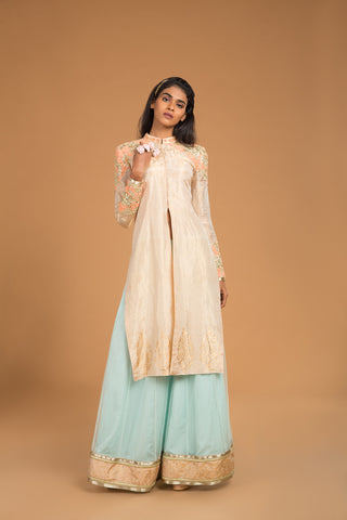 Gold Dust & Salmon Sequins Embroidered Kurta Lehenga Set - The Ethnic Fix - Dubai - UAE