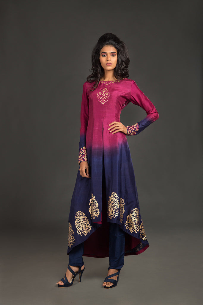 Wine to navy ombre dupion jacket with striaght pants kurta set - The Ethnic Fix - Dubai - UAE