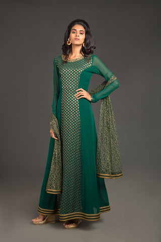 Bottle green & gold zardozi jaal embroidered slim panel dress - The Ethnic Fix - Dubai - UAE