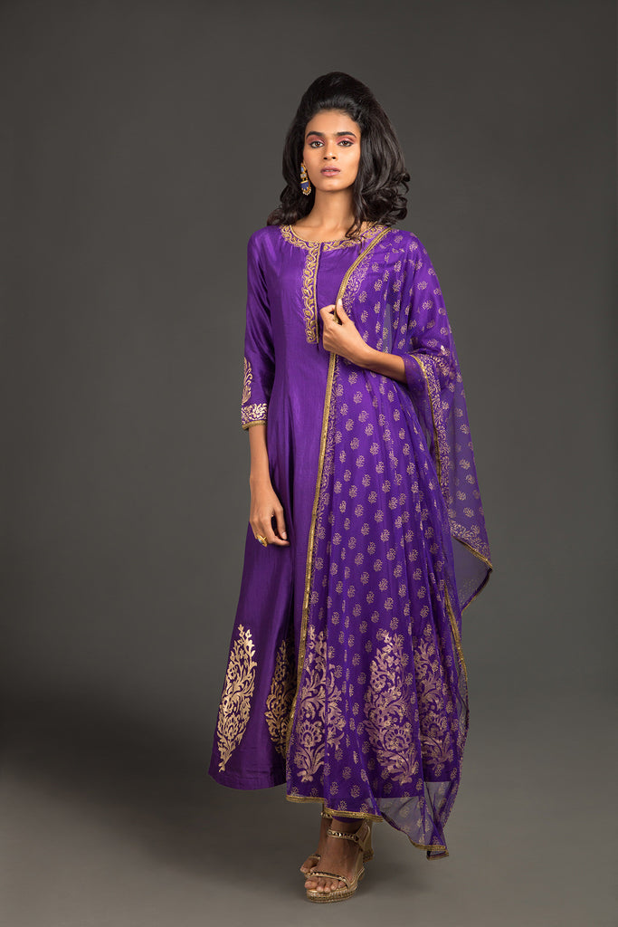 Purple ombre zardozi jaal princess line dress - The Ethnic Fix - Dubai - UAE
