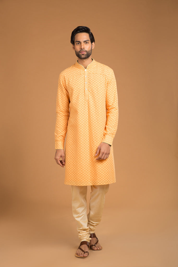 Saffron chanderi buttoned down kurta - The Ethnic Fix - Dubai - UAE