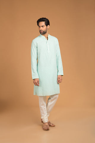 Sky blue chanderi buttoned down kurta - The Ethnic Fix - Dubai - UAE