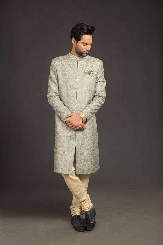 Khakhi sherwani with all over embroidered sherwani - The Ethnic Fix - Dubai - UAE
