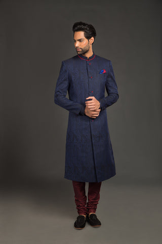 Blue black jacquard and maroon eyelet sherwani - The Ethnic Fix - Dubai - UAE