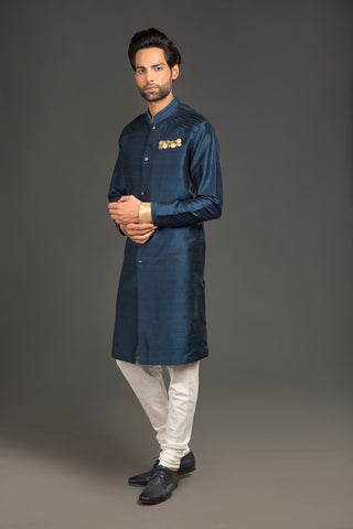 Royal blue rawsilk formal kurta - The Ethnic Fix - Dubai - UAE