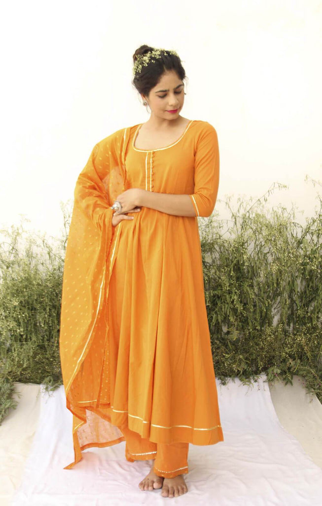 ORANGE ANARKALI SUIT - The Ethnic Fix - Dubai - UAE